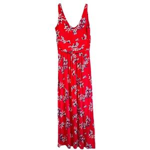 St. Tropez Maxi Dress Red Floral Sleeveless Small